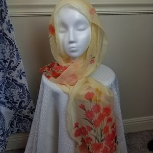 100% silk yellow floral scarf